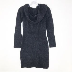H&M Sweater Dress Cowl Neck Gray Knit Womens 6